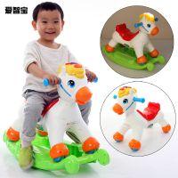 儿童摇摇马小木马宝宝婴儿滑行摇晃两用玩具车摇椅带音乐塑料