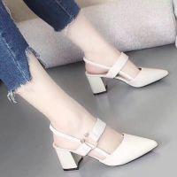 2018时尚姿彩夏新款包头女士凉鞋韩版高跟粗跟尖头单鞋时尚高跟鞋