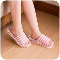 居家家亚麻条纹托鞋女士韩版秋冬季男士室内防滑地板情侣家居拖鞋