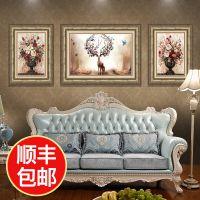 欧式客厅装饰画麋鹿壁画组合现代简欧沙发背景墙三联卧室玄关挂画