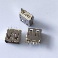USB正反插 A母 2.0双面插 180度DIP 母座 H=11.8 不分正反 平口 米黄