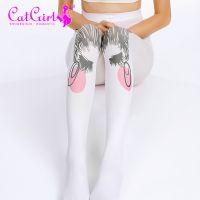 catgirl 可爱丝袜日系连裤袜 印花丝袜学院风 白色打底袜女卡通袜