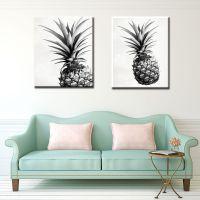 新款现代简约夏季热带植物装饰画黑白菠萝客厅书房挂画无框画芯