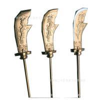 关公像道具关公大刀金色木头雕龙关羽大刀配件特制长度尺寸