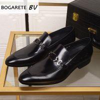 广州批发欧美男鞋商务正装皮鞋男士百搭英伦尖头真皮套脚低帮单鞋