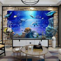 定制新款岗石罗马柱瓷砖电视背景墙中式客厅艺术3d海洋世界背景墙
