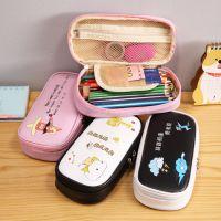 韩版创意文具简约文字大容量黑白笔盒多功能笔袋 学生用品文具盒