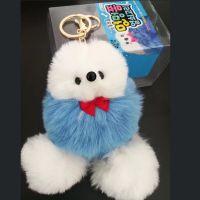 韩版可爱彩色贵宾狗毛球钥匙扣挂件学生包包钥匙扣金属链条挂件