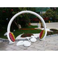 玻璃钢大型仿真头戴式耳机模型树脂彩绘巨型音乐符号雕塑别墅园林小区耳机造型种花器装饰摆设道具