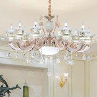 新款欧式客厅吊灯奢华手工陶瓷水晶吊灯LED卧室水晶灯样板房灯具