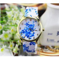 新款青花瓷手表 外贸热销女性花纹印花皮革表 复古休闲花朵时装表