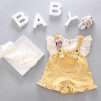 婴儿套装夏装女童短袖背带短裤套装0-1-2-3岁童装女宝宝背带裤