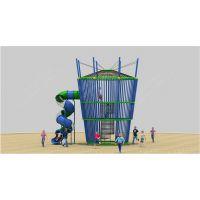 户外公园呼啦墙攀爬架 木质塑料组合滑梯 大型游乐园造型滑梯 儿童游乐设备厂家直销定做