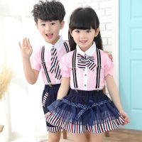 六一儿童节新款儿童校服套装男童女短袖园服合唱服小学生班服批发
