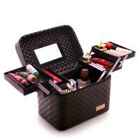 手提画装包化妆包韩国大容量便携多功能双层简约大号化妆箱个性