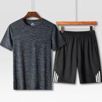 中老年休闲运动套装男夏季短袖爸爸夏装中年男士T恤夏天老人衣服