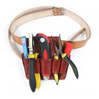 供应电工五联7联工具包头层牛皮钳套 电工腰带电工工具腰包 牛皮工具包外挂袋园艺工具包