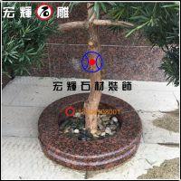 圆形1.2米红钻花围树围/黄锈石花钵供货厂家