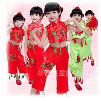 儿童民族舞台服 开门红服装立领表演服 少儿秧歌服 舞蹈演出服