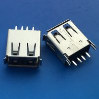 AF USB 2.0母座4P 180度A母立式插板 直脚 卷边 带鱼叉 黑色胶芯 - 日宝