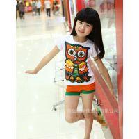 夏季新款 韩版童装 女童短袖T恤 七彩猫头鹰亲子装批发