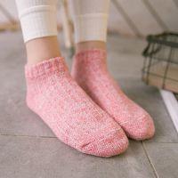 潮冠女袜 2016秋季粗线竖条船袜 全棉素色女袜 低帮百搭短袜
