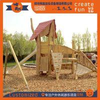 专业定制无动力木质儿童攀爬游乐设施、厂家直销儿童游乐攀爬木屋