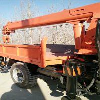 安徽三轮随车吊厂家定做2-5吨小吊机,三轮移树吊拉木材三马车背背吊富中