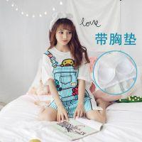 韩版短袖睡裙女性感中裙睡衣学生清新可外穿带胸垫可爱夏天家居服