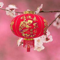 新款植绒布灯笼过年喜庆装饰广告印子定做全红灯笼