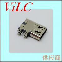 侧插四脚鱼叉DIP-TYPE C母座-无垫高=侧立6P-大电流充电USB母头