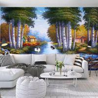 北欧唯美3d个性抽象油画树林风景卧室客厅时候电视背景纸墙壁画