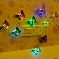 创意七彩发光蝴蝶小夜灯 发光蜻蜓 可粘贴LED装饰墙壁灯厂家批发