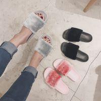 新款欧美秋冬毛毛拖鞋女夏时尚外穿百搭一字拖毛绒平底凉拖鞋女