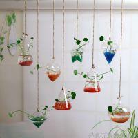 悬挂小吊瓶透明插花玻璃瓶客厅学校酒店楼顶装饰挂件创意墙上花瓶