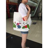 外单尾货女单肩手提包帆布包环保购物袋休闲卡通学生书包