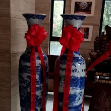 西安宁派批发零售景德镇陶瓷大花瓶 中国红百花争艳落地大花瓶 开业庆典送礼