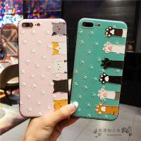 可爱猫爪浮雕苹果iPhone7plus手机壳女款6/6s挂绳6plus保护套8X