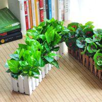 仿真假绿植物假花摆件室内外装饰栅栏绿萝盆栽仿真花草植物套装
