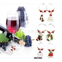 欧美热销款锌合金酒杯环 圣诞镀金酒杯环派对挂件装饰 6pcs礼品套装
