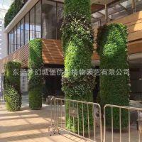 厂家定制室内外景观植物墙门头柱子包边装饰草皮室内美化背景墙