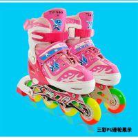 厂家直销新款正品直排滑冰鞋四轮全闪可调节单排轮滑鞋一件代发