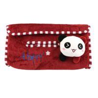 布艺熊猫与猫咪 创意卡通毛绒纸巾抽 汽车用品 家居车用纸巾盒