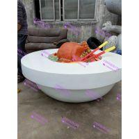定制玻璃钢创意美食碗雕塑饮食连锁猪脚饭摆件饭店门口吸引客户摆件