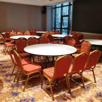 宜春酒店宴会餐桌椅 餐厅圆桌钢椅婚礼酒席桌椅厂家订桌