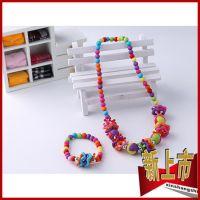 韩版儿童饰品儿童项链链彩色的珠子亚克力项链两件套【厂家直销】