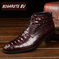 BOGARETE BV冬季保暖鳄鱼纹黑色休闲商务真皮靴头层牛皮马丁靴子