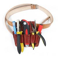 公司供应电工五联7联工具包头层牛皮钳套 电工腰带电工工具腰包 牛皮工具包外挂袋园艺工具包