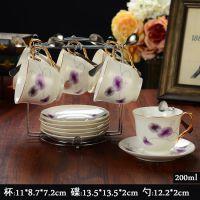 欧式骨瓷6咖啡杯碟套装创意简约高档情侣茶具下午陶瓷英式红茶杯