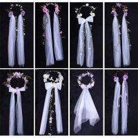 公主头饰韩式新娘花环头纱森系花朵结婚发饰婚礼拍照超仙饰品婚纱